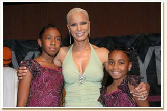 Faye and young fans at her CD release party - September 2004.